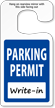 Jumbo Parking Permit Hang Tags, Blue, No Numbering onmouseover =