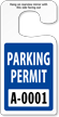 Jumbo Parking Permit Hang Tags, Blue, Sequentially Numbered onmouseover =