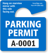 Small Parking Permit Hang Tags, Blue, Sequentially Numbered onmouseover =