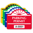 Parking Permit Round Arch Shaped Sticker