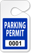 Customizable Pre-Printed Numbered Parking Permit Hang Tag