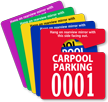 Carpool Parking Permit Mirror Hang Tag, Small Size