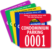 Condo Parking Permit Mirror Hang Tag, Small Size