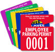 Employee Parking Permit Mirror Hang Tag, Small Size