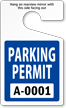 Standard Parking Permit Hang Tags, Blue, Sequentially Numbered onmouseover =