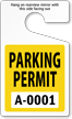 Standard Parking Permit Hang Tags, Yellow, Sequentially Numbered onmouseover =