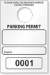 Temporary Parking Permit Mirror Hang Tag