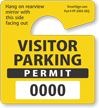 Small Visitor Parking Permit Hang Tags, Yellow, Sequentially Numbered onmouseover =