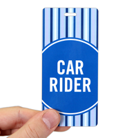 Car Rider Pass Backpack Tags, Blue Stripes Design