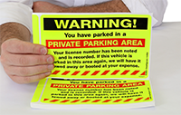 Parking Violation Stickers, Warning, You Have Parked in a Private Parking Area