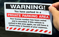 Warning Private Parking Area Removable