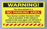 Warning No Parking Area Sticker