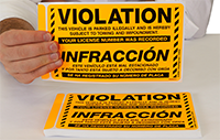Violation Vehicle Parked Illegally Bilingual Sticker