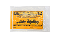 Final Warning Illegally Parked Towed Stickers
