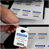 Sheet of Plastic Hang Tags, Six Permits/Sheet