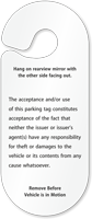 VIP Parking Permit Hang Tag
