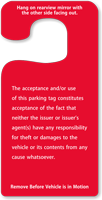 Temporary Parking Permit Rearview Mirror Jumbo Hang Tags