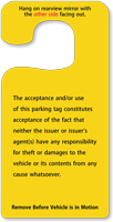 Contractor Parking Permit Hang Tag