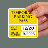 Temporary Parking Pass Numbered Decals