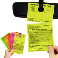 Temporary Parking Permit Mirror Hang Tags Pass