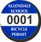 Custom Circular School Bicycle Permit Decals