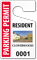 Custom Parking Permit Hang Tag For Resident